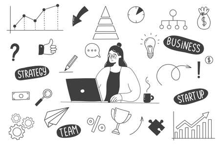 Hand Drawn Business Doodles with a woman working at a computer. Vector illustration.