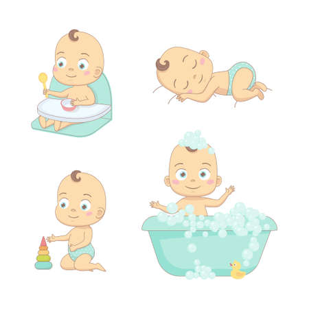 Adorable happy baby and his daily routine. Care about infant baby. Set of baby characters