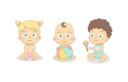 Cute babies are playing. Little baby girls and boys play, crawl. Vector illustration on a white background.