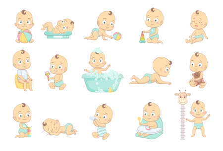 Adorable happy baby and his daily routine. Care about infant baby. Set of baby characters 일러스트