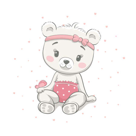 Cute baby bear cartoon vector illustration. Illustration in hand drawing style for baby shower. Greeting card, party invitation, fashion clothes t-shirt print. 일러스트