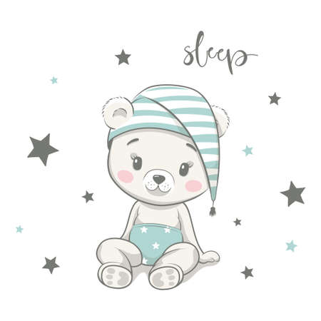 Cute baby bear in nightcap cartoon vector illustration. Illustration in hand drawing style for baby shower. Greeting card, party invitation, fashion clothes t-shirt print. 일러스트