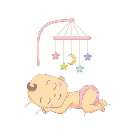 Cute baby sleeping under a mobile toy, colorful cartoon character vector Illustration.