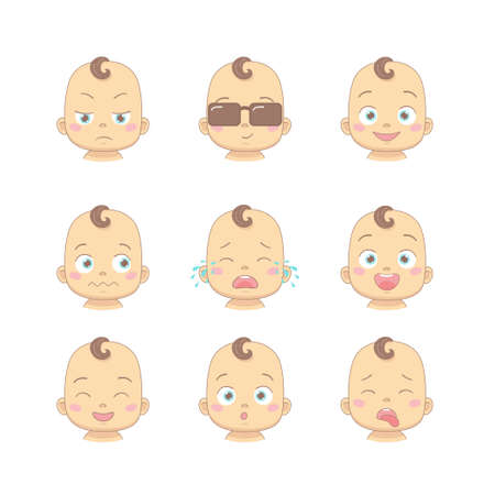 Set of cute cartoon baby or toddler with different funny emotions in flat design cartoon character. Cute children with dissatisfied, business, smiling, crying, laughing, smiling and disgusted face.