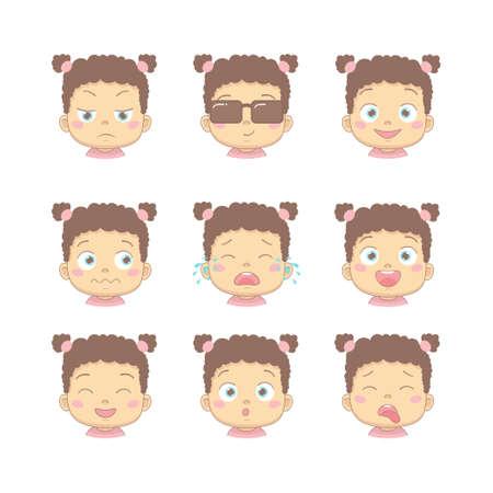 Set di bambino simpatico cartone animato con diverse emozioni divertenti nel personaggio dei cartoni animati di design piatto. Bambini carini con faccia insoddisfatta, d'affari, sorridente, piangente, ridente, sorridente e disgustata.