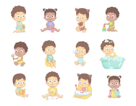 Cute babies draw with pencils, play with cubes, with a ball, read a book. Vector illustration on a white background.