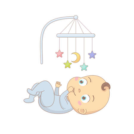 Cute baby lying under a mobile toy, colorful cartoon character vector Illustration.