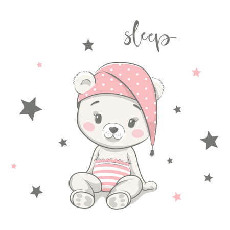Cute baby bear in nightcap cartoon vector illustration. Illustration in hand drawing style for baby shower. Greeting card, party invitation, fashion clothes t-shirt print 일러스트