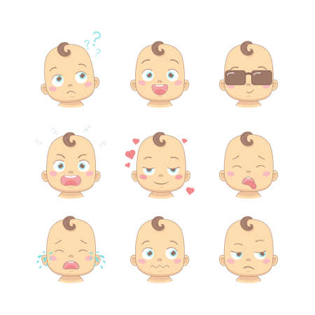 Set of cute cartoon baby or toddler with different funny emotions in flat design cartoon character. Cute children with thinking, joy, business, anger, in love, sick, crying and disgusted face Illustration