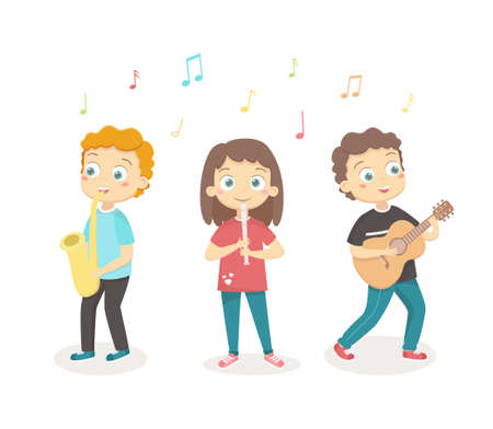 Children play musical instruments. Children s hobbies and activities. Vector illustration on a white background