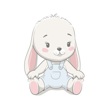 Cute baby bunny cartoon vector illustration. Illustration in hand drawing style for baby shower. Greeting card, party invitation, fashion clothes t-shirt print