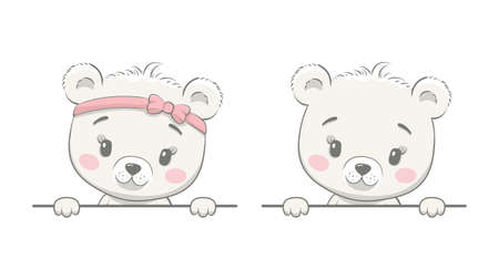 Cute baby bear with blank frame. Template for advertising brochure with boy bear or girl bear. Vector illustration 일러스트