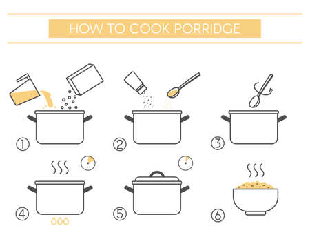 Instructions for the preparation of food. Steps how to cook porridge. Vector elements on a white background