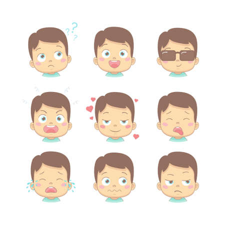Set of cute cartoon baby with different funny emotions in flat design cartoon character. Cute children with thinking, joy, business, anger, in love, sick, crying and disgusted face