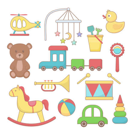 Set of toys and accessories for baby. Colorful cartoon vector Illustration. 일러스트