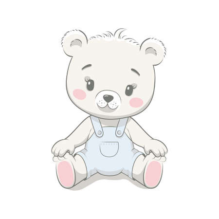 Cute baby bear cartoon vector illustration. Illustration in hand drawing style for baby shower. Greeting card, party invitation, fashion clothes t-shirt print