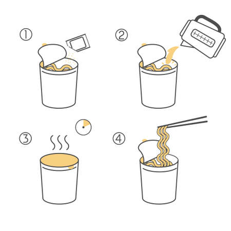 Instructions for the preparation of food. Steps how to cook instant noodles. Vector elements on a white background