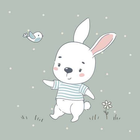 Cute baby bunny cartoon vector illustration. Illustration in hand drawing style for baby shower, greeting card, party invitation, fashion clothes t-shirt print