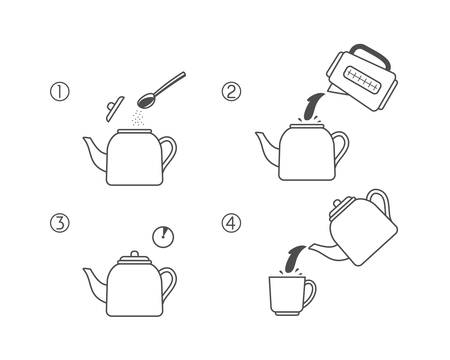 Steps how to cooking tea in teapot. Line vector elements on a white background