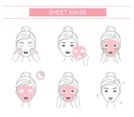 Steps how to apply facial cosmetic mask. Line vector elements on a white background