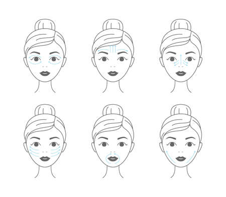 Young woman making facial massage by lines. Line vector elements on a white background