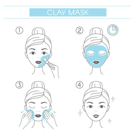 Steps how to apply facial cosmetic clay mask. Line vector elements on a white background
