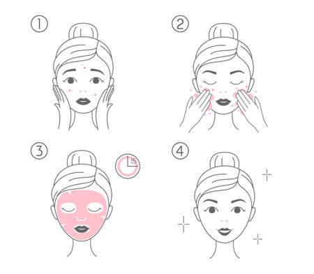Steps how to apply facial cosmetic mask. Line vector elements on a white background.