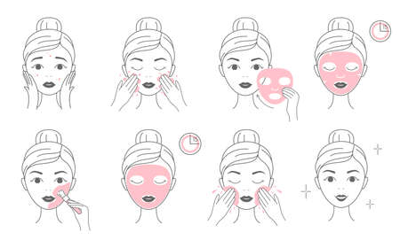 Steps how to apply facial cosmetic mask and clay mask. Line vector elements on a white background. 일러스트