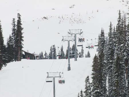 basin mountain: Snowy winter scene high in the mountain. Arapahoe Basin ski resort. Colorado Rocky Mountains USA. Stock Photo
