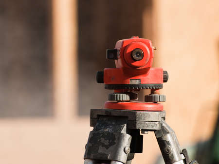 Equipment theodolite tool at construction site works