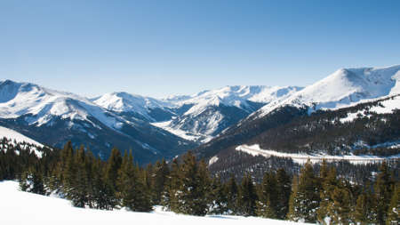 colorado rocky mountains: Snowcaped mountains in Berthoud Pass, Colorado.