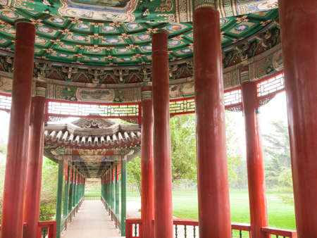 Interior details, Temple of Haven in Beijing. Imperial palace in China. photo