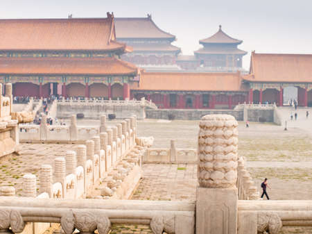 Facade and roofs details, Forbidden City in Beijing. Imperial palace in China. Reklamní fotografie
