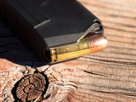 Loaded magazine with bullets.