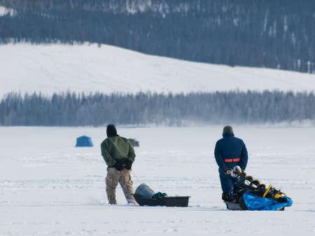 Ice fishing on Lake Granby, Colorado. photo