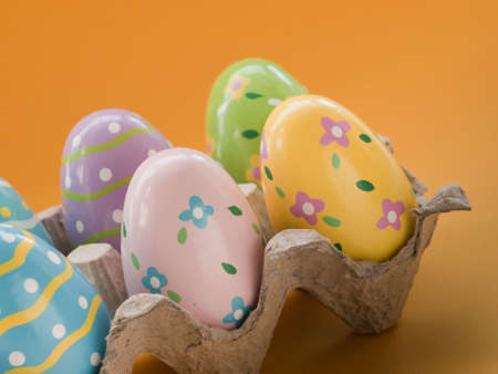 Box with painted easter eggs. Stock Photo - 9107843