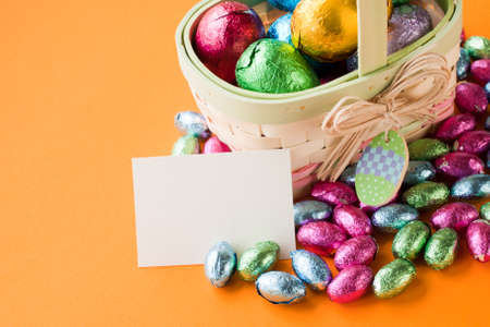 Easter basket with chocolate eggs. Stock Photo - 9107958