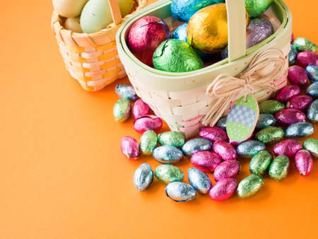 Easter basket with chocolate eggs. photo