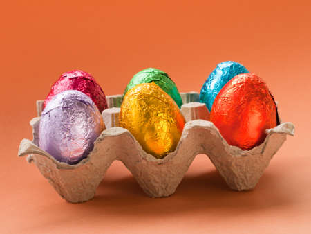 Box with painted easter eggs. Stock Photo - 9107956