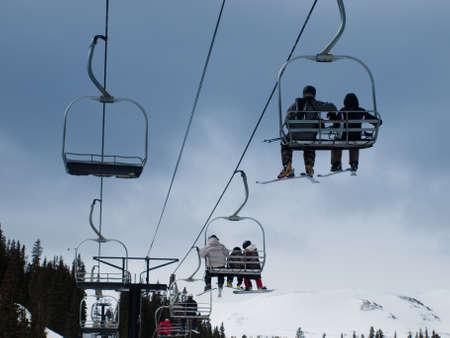 Group of people on chair lift in Loveland Ski resort, Colorado. Stock Photo - 9158358