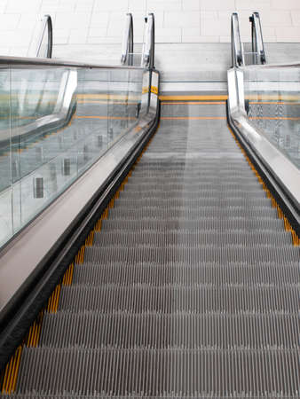 elevated walkway: Escalator at the Colorado Convention Center in Downtown Denver. Stock Photo