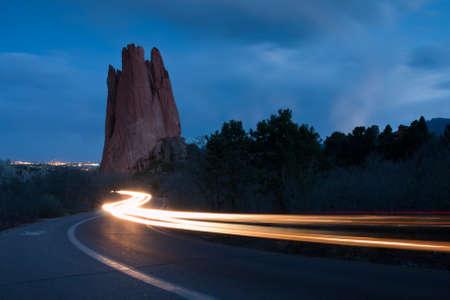 denver parks: Sunset at Garden of the Gods Rock Formation in Colorado.