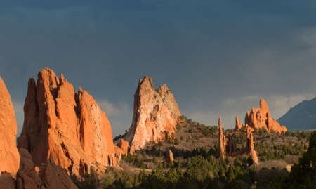 Sunset at Garden of the Gods Rock Formation in Colorado. photo