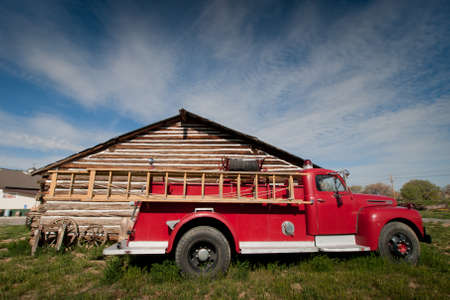 A mint-condition antique firetruck shines in the sun. Museum of the Mountain West in Montrose, Colorado.