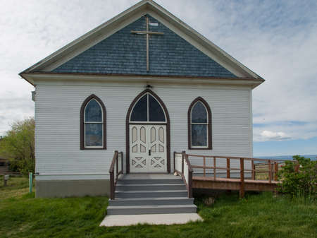 midwest usa: 1913 German Lutheran Church. Museum of the Mountain West in Montrose, Colorado. Stock Photo