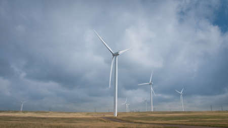 Wind turbines farm with alternative energy source in Cheyenne,  WY. photo