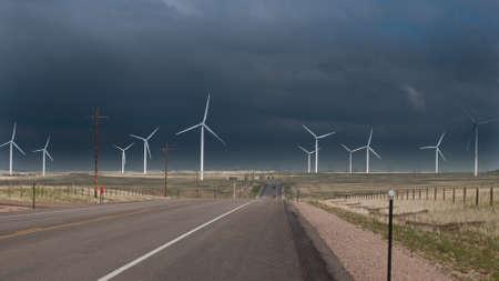 source: Wind turbines farm with alternative energy source in Cheyenne,  WY. Stock Photo