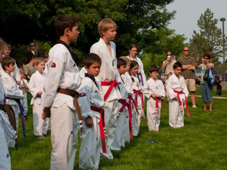 greenwood: Belt test at J.W. Kim TaeKwonDo School. At the park in Greenwood Village, Colorado. June 2011.