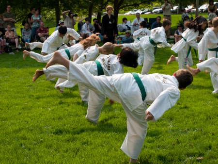 Belt test at J.W. Kim TaeKwonDo School. At the park in Greenwood Village, Colorado. June 2011.