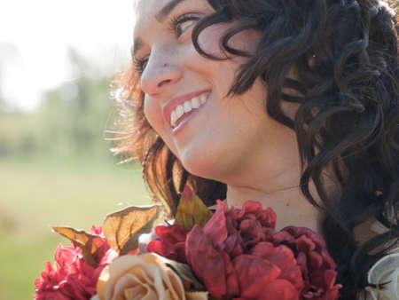 Fashion model wearing a wonderful  wedding dress. Stock Photo - 9743462